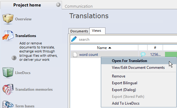 Open a view for translatoin in memoQ