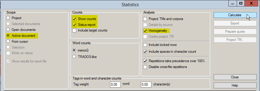 Settings for word counts in memoQ