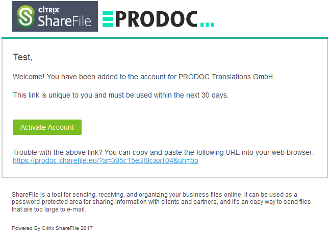 Activate PRODOC Sharefile Account