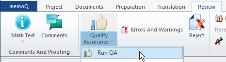 Start QA check in memoQ