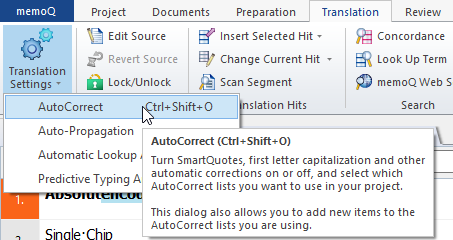 Call the AutoCorrect function in memoQ