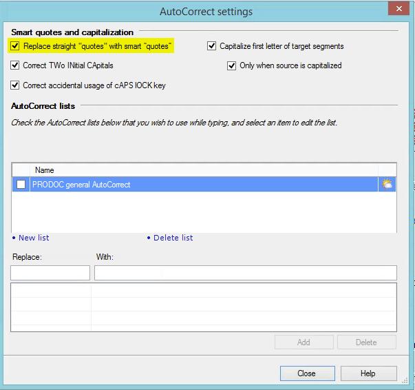 Autocorrect settings in memoQ