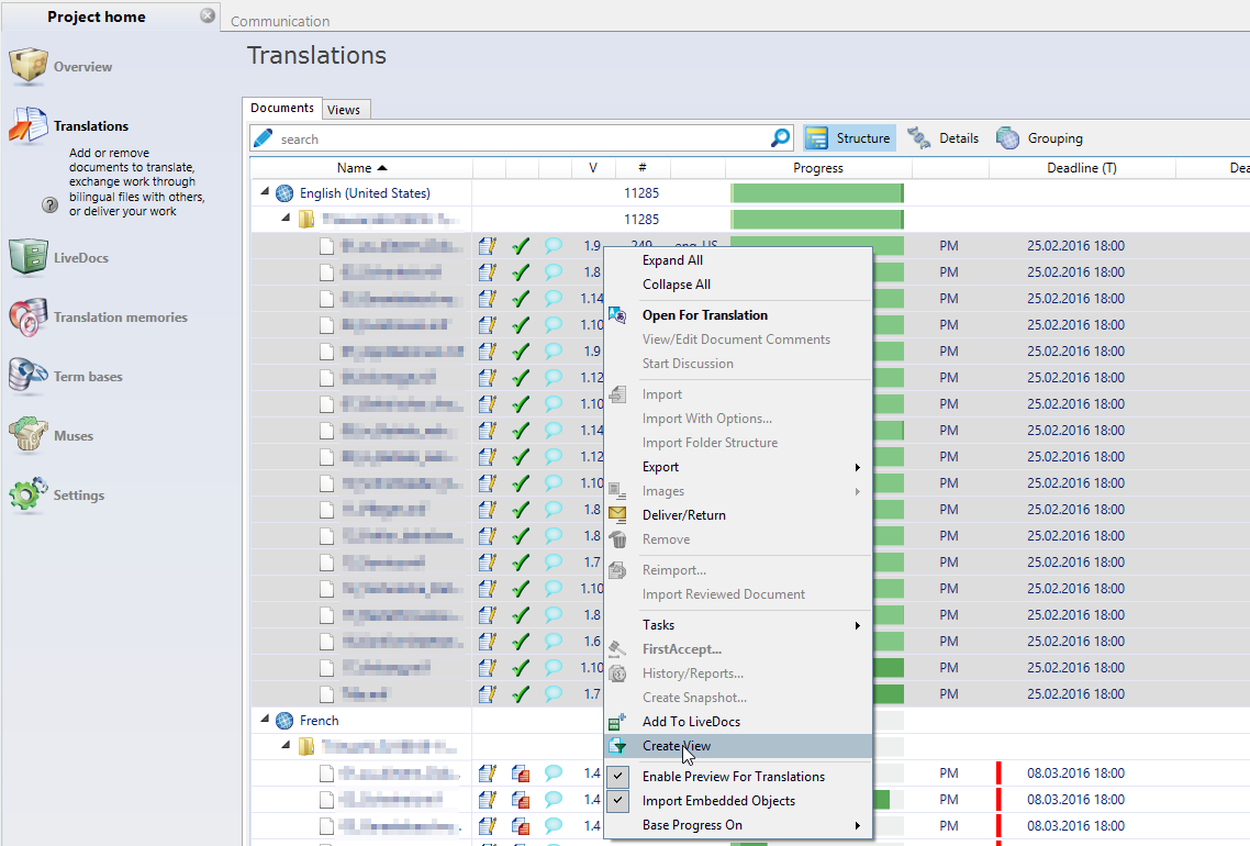 memoQ project home - translations - create view