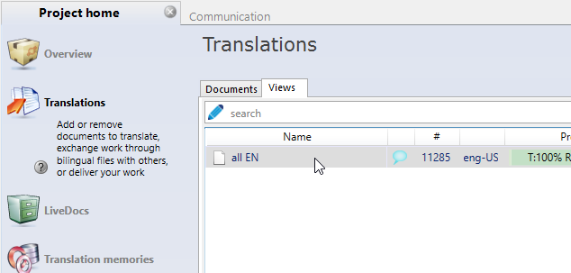 memoQ project home - translations - show view