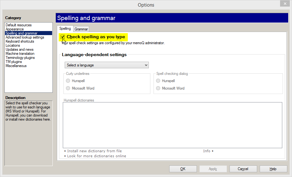 memoQ options - check spelling as you type